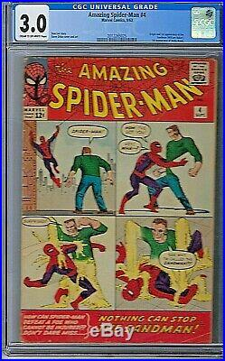 Amazing Spider-Man Vol 1 # 4 CGC 3.0 Marvel 1st Appearance of The Sandman 1963