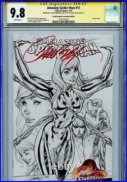 Amazing Spider-Man Vol 4 15 CGC 9.8 SS X2 Stan Lee J Scott Campbell sketch cover