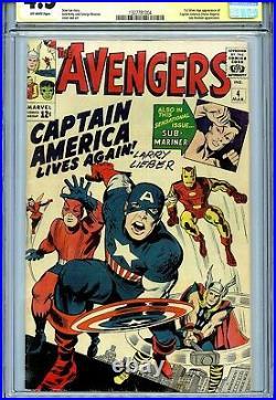 Avengers Vol 1 4 CGC 4.5 SS 1st Silver Age Captain America Iron Man Thor Lieber