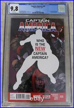 CAPTAIN AMERICA #25 CGC 9.8 vol. 7 SAM WILSON AS NEW CAP. (Marvel Comics)