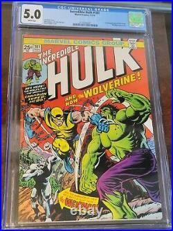Incredible Hulk #181 Vol 1 CGC 5.0 1st App of Wolverine Excellent Looking Book