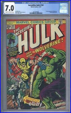 Incredible Hulk #181 Vol 1 CGC 7.0 1st App of Wolverine Excellent Looking Book