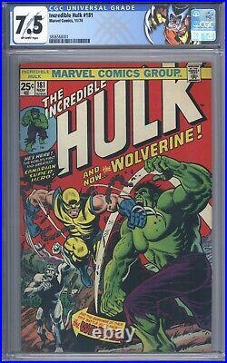 Incredible Hulk #181 Vol 1 CGC 7.5 1st App of Wolverine Great Looking Book