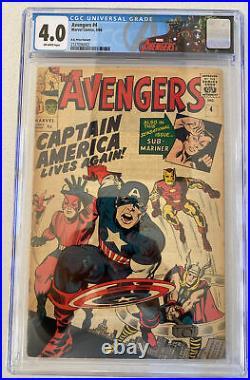 Marvel Comics THE AVENGERS Vol. 1 No. 4, March 1964 CGC 4.0