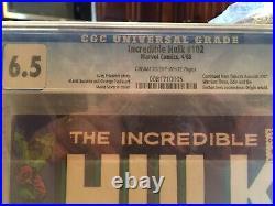 Marvel Comics The Incredible Hulk #102 Vol 1 CGC 6.5. Silver Age