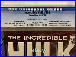 Marvel Comics The Incredible Hulk #102 Vol 1 CGC 7.0! Silver Age