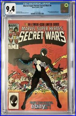 Secret Wars Vol 1 #8 Cgc Nm (9.4) 1st Black Costume & Venom Origin / White