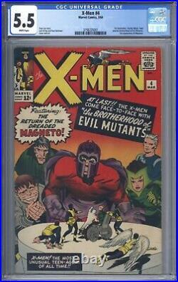 X-Men #4 Vol 1 CGC 5.5 1st App Quicksilver & Scarlet Witch Very Nice Mid Grade
